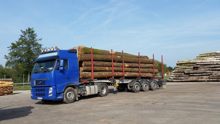 LKW mit Eichen-Holzstämme